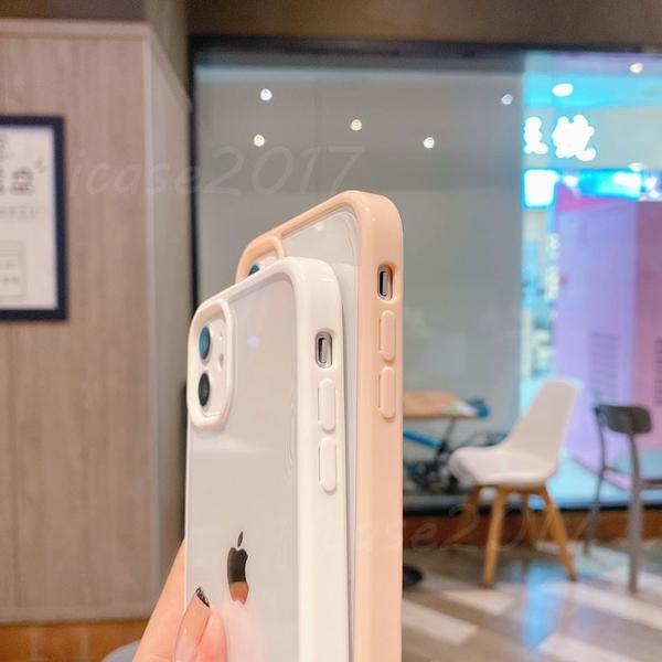 素色邊框透明背板|蘋果 iPhone 12 Pro max 11 Pro max 簡約塑膠 鏡頭加高 保護殼 透明 手機殼