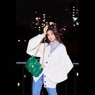 ■專櫃77折■全新真品■Valentino Roman 羊皮大鉚釘羅馬2用包 綠色 木村光希同款 -A1
