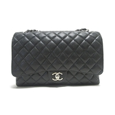 CHANEL 香奈兒 黑色荔枝紋牛皮銀鍊肩背斜背包 Classic Handbag A58600 無卡 BRAND OFF