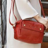 牛皮/斜背包【CALTAN】真皮輕巧隨身斜背相機包 - 5202cd紅