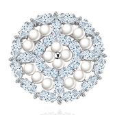 胸針 純銀鍍白金珍珠-水晶圓形生日情人節禮物女胸花73cw25[時尚巴黎]