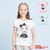 JJLKIDS 女童  蝴蝶結狗狗印花圓領上衣T恤(3色)