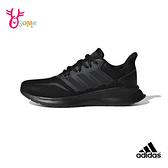 adidas愛迪達童鞋女鞋可穿 男女童慢跑鞋 大童運動鞋 耐磨透氣 童跑步鞋 RUNFALCON S9303#全黑色◆奧森
