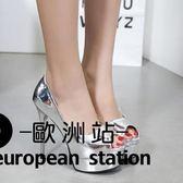 高跟鞋/14cm淺口高跟單鞋魚口細跟女鞋「歐洲站」