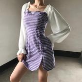撞色紫色格子旗袍改良版連身裙女宮廷復古泡泡袖不規則一步裙短裙