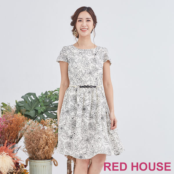 Red House 蕾赫斯-描花洋裝(共2色)