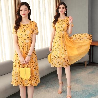 洋裝 9042# 黃色短袖雪紡連身裙女夏天中長款2020新款收腰女士裙子H325.1號公館