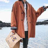 新款男士秋季中長款休閒夾克外套男韓版秋裝潮流大衣春秋    原本良品