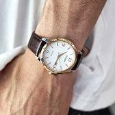 CITIZEN 星辰表 / BM7304-16A / 光動能 藍寶石水晶玻璃 日本製造 日期 牛皮手錶 白x香檳金框x深褐 40mm