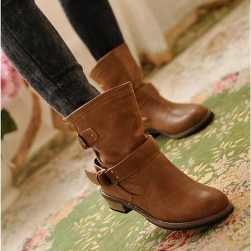 歐美風皮帶釦短靴 馬丁靴【8809】