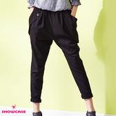 【SHOWCASE】率性斜邊口袋窄管褲(黑)