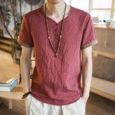棉麻上衣 T恤男短袖寬鬆中國風男裝亞麻大碼薄款民族風休閒復古棉麻上衣服