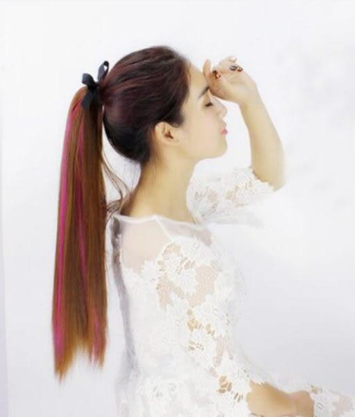 女式挑染色中長款仿真髮綁式馬尾接假髮片LK1292『毛菇小象』