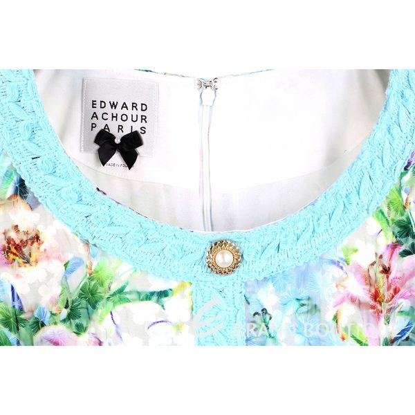 EDWARD ACHOUR PARIS 藍色拼接彩繪印花短袖連身褲 1620346-27