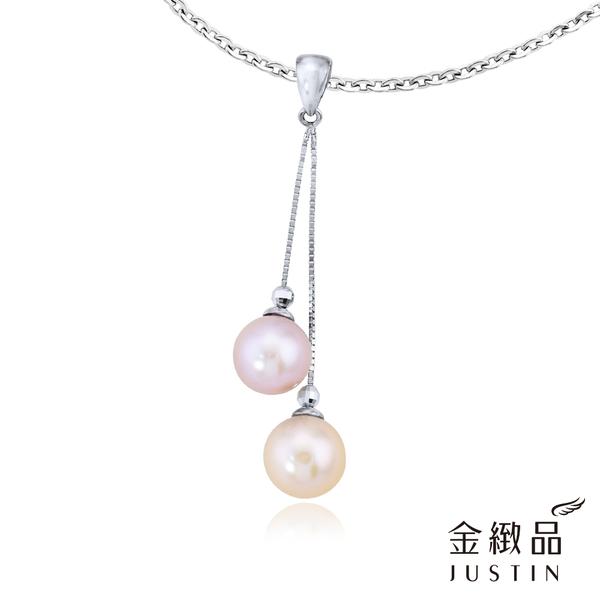 Justin金緻品 雙喜成對 天然珍珠墜飾 雙色珍珠 K金墜頭 送皮繩項鍊