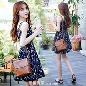 泰國三亞旅游度假沙灘裙吊帶V領短裙碎花無袖高腰洋裝夏季海邊 「米蘭街頭」