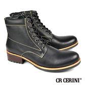 【CR CERINI】七孔荔枝紋半筒靴 黑色(69131-BL)