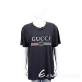 GUCCI Oversize 復古標誌圖印黑色棉質短T恤 1840411-01