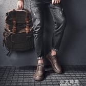 馬丁靴男低筒春夏季男士工裝靴英倫風休閒皮鞋復古靴子男百搭潮鞋【小艾新品】