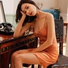 帶胸墊性感睡衣女夏季冰絲薄款蕾絲縷空絲綢2021年新款吊帶睡裙子【快速出貨】