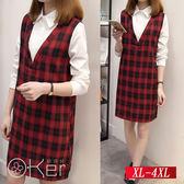 撞色拼接格子襯衣領連衣裙 XL-4XL O-Ker歐珂兒 156671-C