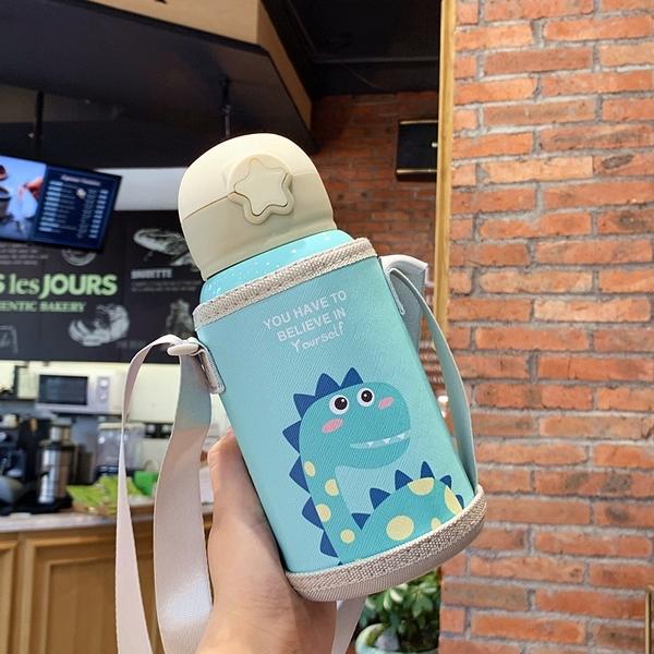 兒童保溫杯 316不鏽鋼 保溫杯 保溫瓶 飲水杯 吸管杯 兒童保溫水壺 背帶水壼 幼稚園寶寶水杯 600ml