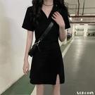 T恤裙 連身裙女夏季法式復古小眾氣質收腰修身小個子辣妹v領黑色t恤裙子 艾家