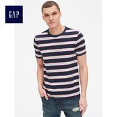 Gap男裝 復古竹節針織條紋圓領短袖T恤 424523-多色細條紋