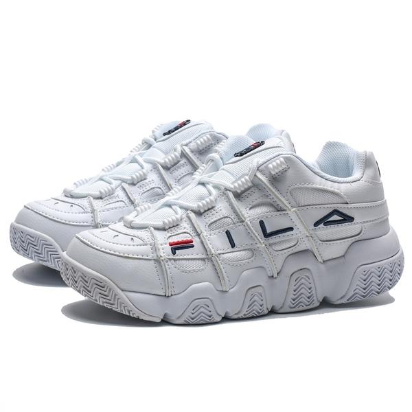 FILA 全白 紅 深藍刺繡LOGO 復古 老爹鞋 休閒鞋 男女 (布魯克林) 4B507T111