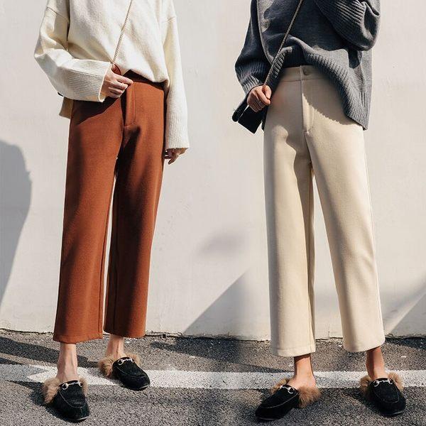 闊腿褲女九分寬鬆高腰西裝褲直筒 東京衣櫃