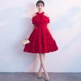 敬酒服新娘2019新款春紅色短款修身連身裙晚禮服宴會小禮服顯瘦女