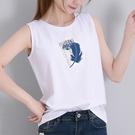 純棉吊帶背心女無袖T恤外穿2021年夏新品白色寬鬆上衣ins百搭大碼「時尚彩紅屋」