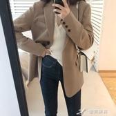 短款外套 小西裝外套女黑色春秋新款韓版寬松英倫風西服女短款上衣 樂芙美鞋