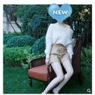 白色毛衣女一字肩港味寬鬆外穿漏肩鎖骨打底內搭馬海毛秋冬上衣潮 果果輕時尚