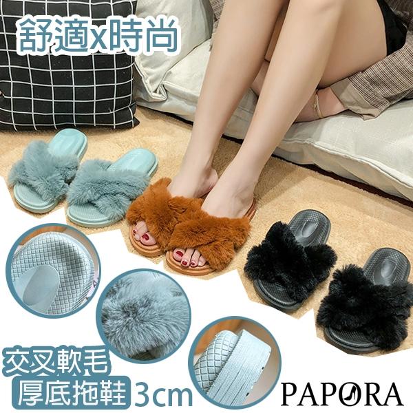 PAPORA寬版交叉毛毛拖鞋K888V黑色/咖啡/綠色