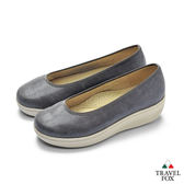 TRAVEL FOX(女) 輕量上班楔型鞋休閒鞋-灰