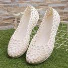 白色涼鞋女款涼鞋塑料鏤空柔軟沙灘鞋平底護...