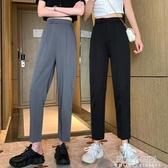 秋裝2020流行新款黑色西裝褲子女百搭高腰顯瘦直筒寬鬆九分休閒褲 poly girl