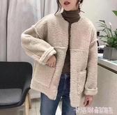 毛絨大衣女2020秋冬裝新款韓版寬鬆百搭仿皮毛一體短款羊羔毛外套 新年慶
