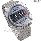 Click 電度錶 創意 造型 腕錶 創新風格 趣味 不銹鋼 銀色 男錶 CL-713A-SVBK-M