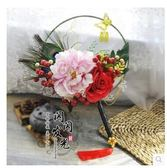 中式扇子型純手工結婚新娘伴娘古裝手捧花LYH3336【大尺碼女王】