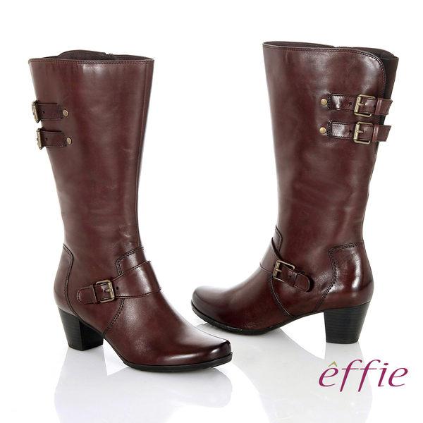 effie 魅力時尚 復古素面拼接方扣粗跟長靴  茶