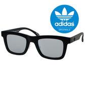原廠公司貨-【adidas 愛迪達】潮流三葉草LOGO百搭方框太陽眼鏡/運動眼鏡#全黑框-灰鏡(002-009-000)
