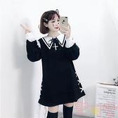 日系甜美lolita洛麗塔蘿莉刺繡木耳邊可愛連身裙【聚可愛】