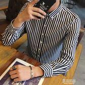 秋季男士長袖條紋襯衫修身寸衣青少年發型師韓版休閒襯衣學生潮男     原本良品