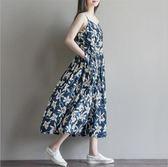 *漂亮小媽咪*花漾女王 細肩帶 加大 傘狀 棉麻 孕婦裝 洋裝 高腰 長裙 長洋裝 D3071