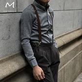英倫復古細條背帶夾Y型三夾 男女通用情侶款 寬度2.5CM錢夫人小舖
