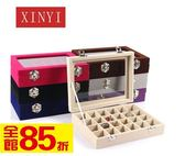 黑五好物節  絨布玻璃戒指盒首飾盒耳釘收納盒有蓋耳環盒項鏈盒珠寶箱美甲盒子  無糖工作室