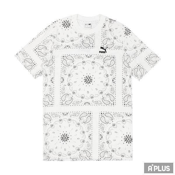 PUMA 男 流行系列Offbeat印花短袖T恤(M) 白 滿版 變形蟲 方形-53254402