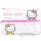 〔小禮堂〕Hello Kitty 扁平拉鍊筆袋《白粉Mimmy 蝴蝶結LOGO 》4713791 96960